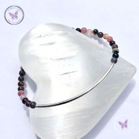 Multi Tourmaline Beaded Tube Bracelet
